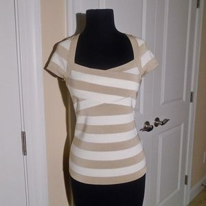 WHBM Striped Rib Knit Cross-Over Sweater Top